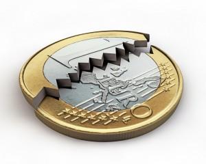 Une pièce de 1 euro brisée