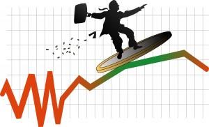 Un trader surfant sur une courbe montrant l'évolution d'un cours boursier