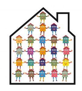 Dessin représentant une maison remplie de personnages se tenant la main et formant une pyramide