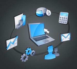 Infographie représentant un ordinateur entouré des différentes fonctionnalités du logiciel de gestion de copropriété