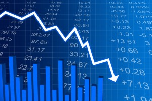 Un graphique représentant une chute de cours boursier