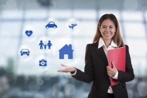 business salesman agent hand pressing button accident prevention concept assurance health-care insurance.